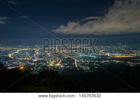 View Point City Of Chiangmai In Wat Phra That Doi Suthep Temple