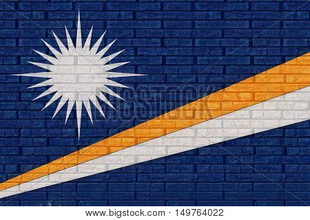 Illustration of the flag of The Marshall Islands looking like it has been painted onto a wall
