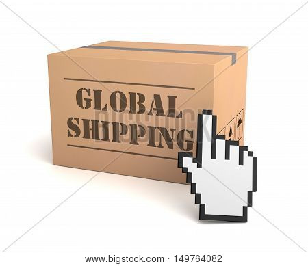 global shipping 3d illustration isolated on white background