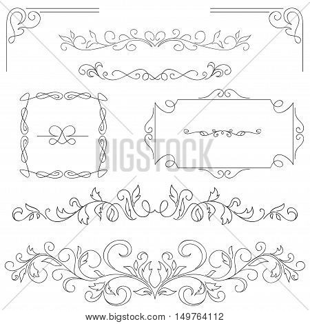 Set of hand-drawn vignettes, flourishes, corners, text dividers, frames.