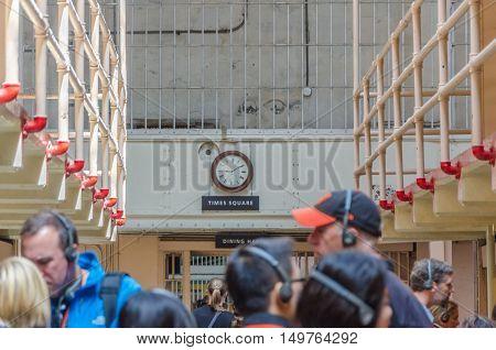 Tourist Visiting The Alcatraz Island Prison