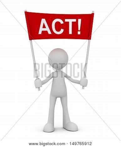 holding act 3d illustration isolated on white background