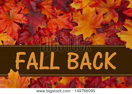 Fall Back message Some fall leaves with text Fall Back