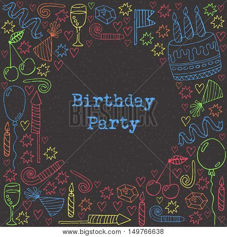 Colorful birthday doodle with round place for text cute birthday cake candles balloones candys stars hats and other