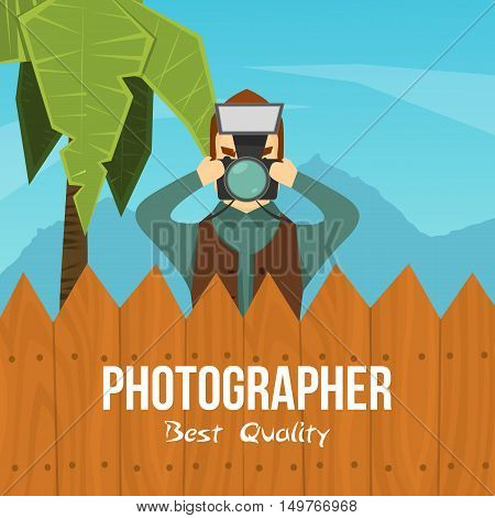 Flat colorful background with male photographer character taking photo behind the fence with editable text vector illustration