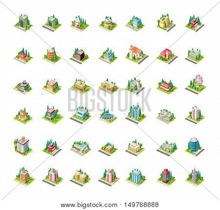 Stock vector big set illustrations isometrics isolated building with arranged territory for business center info graphics elements on a white background