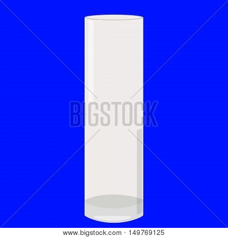 Tall Glass Cylindric Vase Empty Isolated Vector Illustration