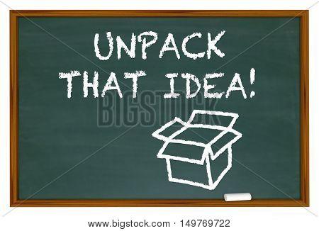 Unpack That Idea Understand Meaning Chalk Board 3d Illustration