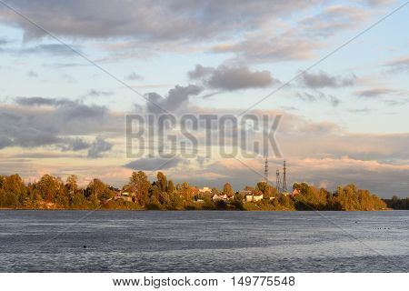 View of Neva River at evening in St.Petersburg Russia.