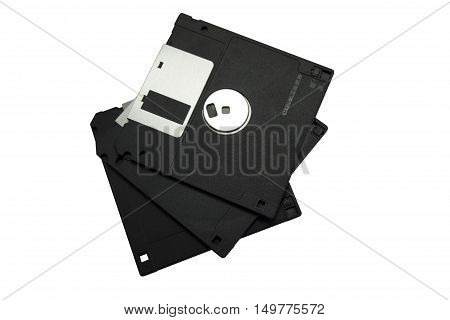 Floppy disk data storage support isolated on white