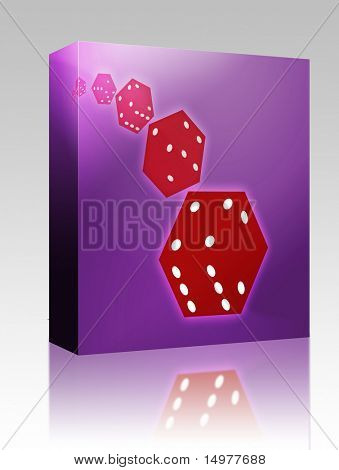 Software package box Illustration of translucent rolling red dice showing gambling