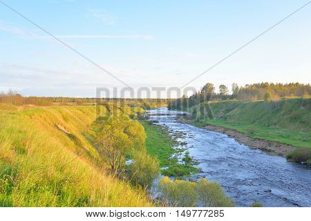 Canyon of Tosna River in Leningrad Region Russia.