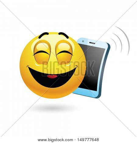 Smiley talking on a phone. Vector illustration of a smiley having funny phone conversation.