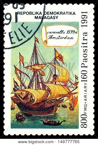 STAVROPOL RUSSIA - September 01 2016: a stamp printed in Malagasy shows caravelle Caravelle Amsterdam 1599 circa 1991.