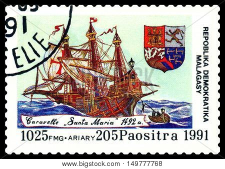 STAVROPOL RUSSIA - September 01 2016: a stamp printed in Malagasy shows caravelle Santa Maria circa 1991.
