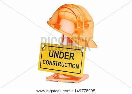 Under construction concept. Traffic cones hardhat and roadsign closeup. 3D rendering