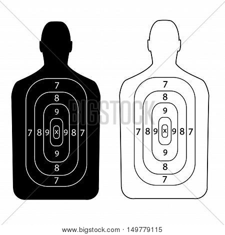Target shooting.Contour people. Vector illustration of a flat design.
