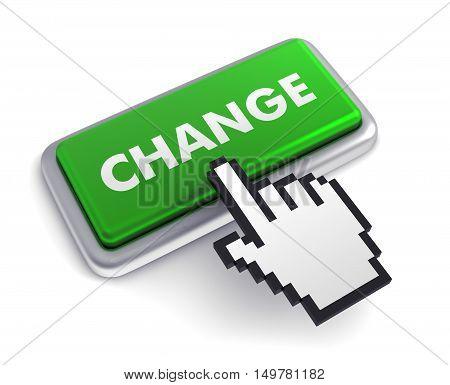 change keyboard 3d illustration isolated on white background