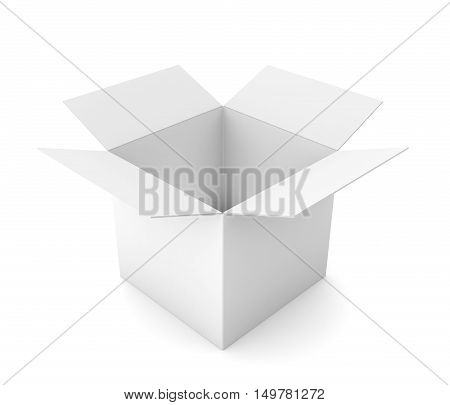 open cardboard box 3d illustration isolated on white background