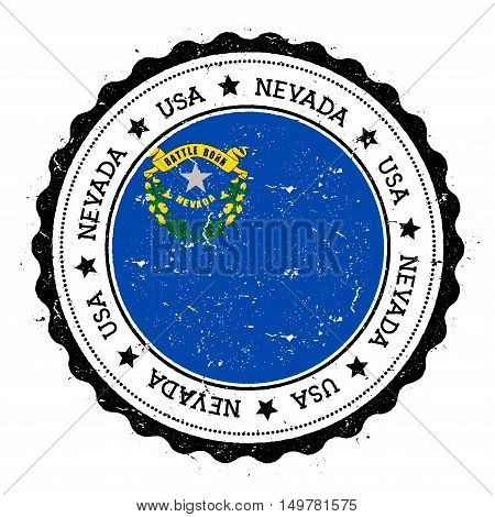 Nevada Flag Badge. Grunge Rubber Stamp With Nevada Flag. Vintage Travel Stamp With Circular Text, St