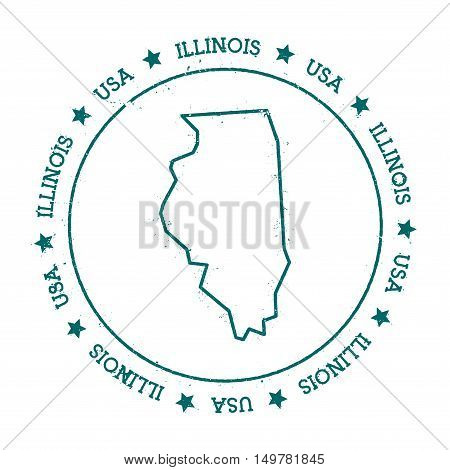 Illinois Vector Map. Retro Vintage Insignia With Us State Map. Distressed Visa Stamp With Illinois T