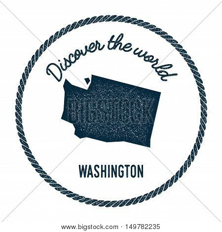 Washington Map In Vintage Discover The World Rubber Stamp. Hipster Style Nautical Postage Stamp, Wit
