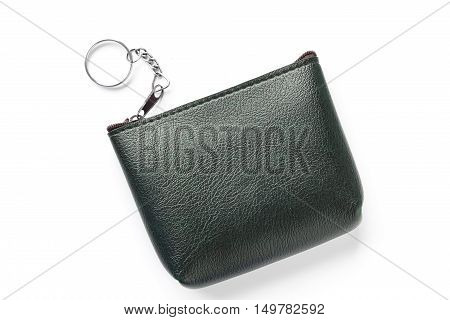 Black purse on a white background / Leather purse on a white background