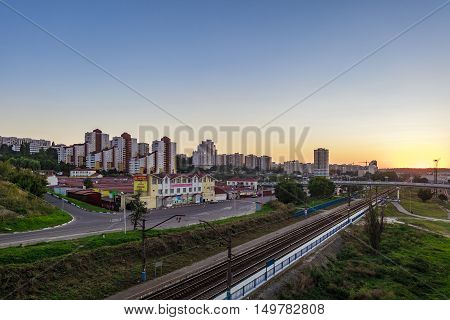 BELGOROD RUSSIA - SEPTEMBER 10 2016: Railroad tracks in the direction of the border with Ukraine. Street Market