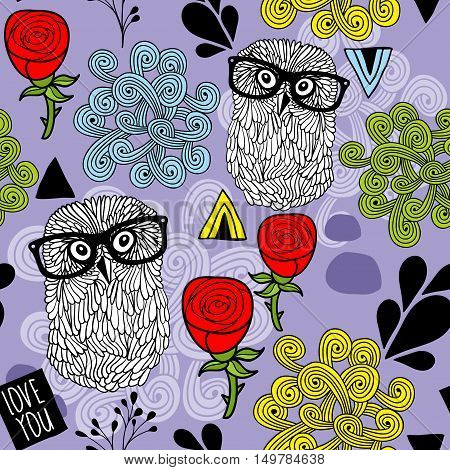Owls with roses and design elements. Seamless pattern in vector.