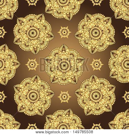 Vintage brown seamless pattern with gradient golden circles vector