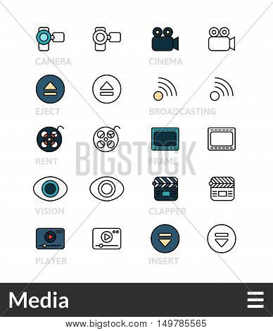 Black and color outline icons, slim line pictograms vector set 38 - Media symbol collection