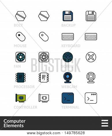 Black and color outline icons, slim line pictograms vector set 3 - computer symbol collection