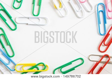 paperclip on white background with copy space