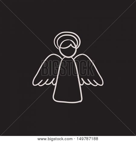 Easter angel vector sketch icon isolated on background. Hand drawn Easter angel icon. Easter angel sketch icon for infographic, website or app.