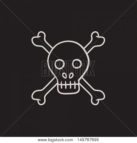 Skull and cross bones vector sketch icon isolated on background. Hand drawn Skull and cross bones icon. Skull and cross bones sketch icon for infographic, website or app.