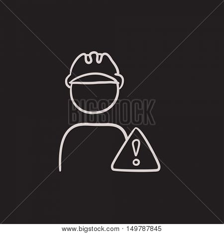 Worker with caution sign vector sketch icon isolated on background. Hand drawn Worker with caution sign icon. Worker with caution sign sketch icon for infographic, website or app.