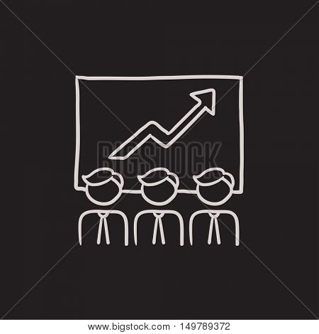 Business growth vector sketch icon isolated on background. Hand drawn Business growth icon. Business growth sketch icon for infographic, website or app.