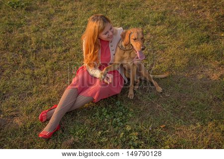 Young Woman Sitting In Grass Dog Elevated View