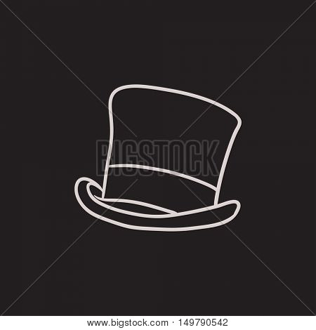 Top hat sketch icon for web, mobile and infographics. Hand drawn top hat icon. Top hat vector icon. Top hat icon isolated on white background.
