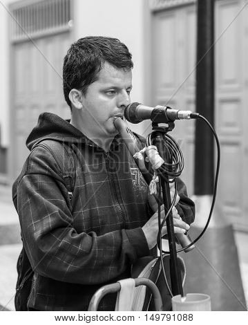 LIMA PERU - SEPTEMBER 21 2016: Blind Young Man Playing a Flute on the Street of Lima Peru.