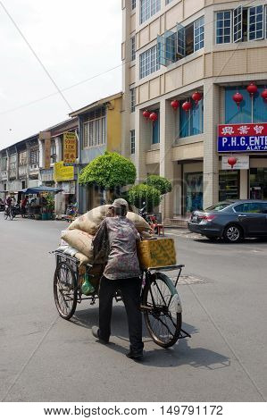 PENANG MALAYSIA - APRIL 26 : a Vintage retro tricycle bike or rickshaw of Malaysian