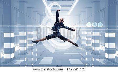 Dancing businesswoman in virtual room . Mixed media