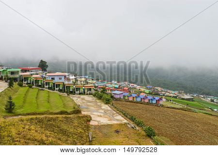 Colorful accommodation hillside at Phu Tubberk mountains in Thailand