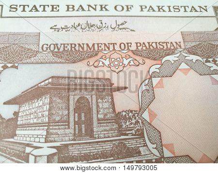 Close up of Pakistan money, Pakistani rupee banknote