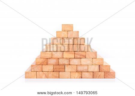 Wooden Block Tower Game Children Isolated On White