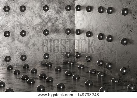 Metal background out of the box made from sheet steel with rivets 3d rendering