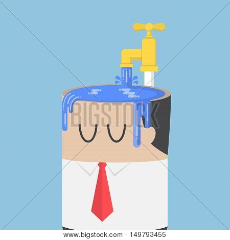 Businessman Fill Water Into His Head Untill Overfull
