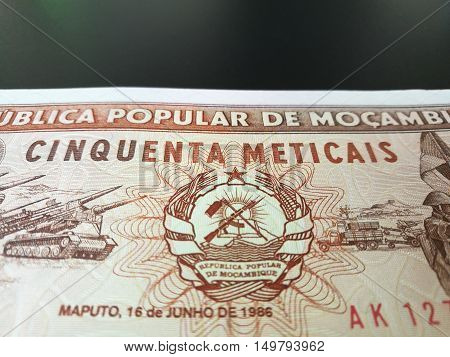Close up of Mozambican Metical, Mozambique paper bank note, Mocambique money