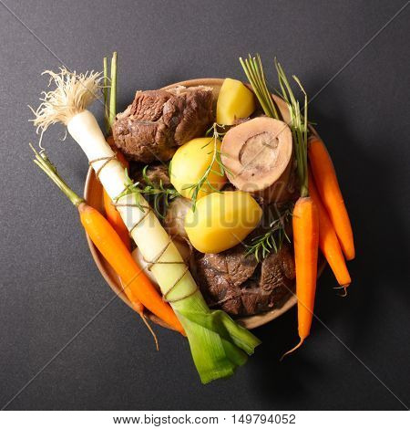 beef with vegetable,pot au feu