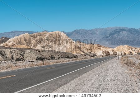View of Zabriskie Point from State Route 190, Death Valley National Park, California